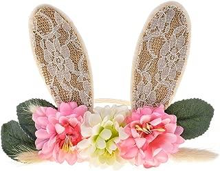 DreamLily Girls Spring Bunny Ears Headband Birthday Flower Crown Woodland Floral Head Piece for Toddler BB15