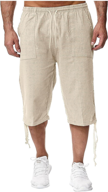 Burband Mens Shorts Cotton Linen Beach Yoga Pants Below Knee Length Casual Loose Fit Canvas Utility Hiker Shorts