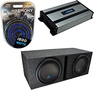 """$436 » Universal Car Stereo Vented Port Dual 10"""" Alpine Bundle Type S S-W10D2 Sub Box Enclosure with Harmony HA-A800.1 Amplifier ..."""