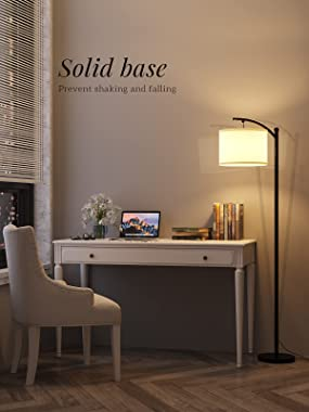 addlon Floor Lamp for Living Room with Beige Linen Lamp Shade and 9W LED Bulb Modern Standing Lamp Floor Lamps for Bedrooms -