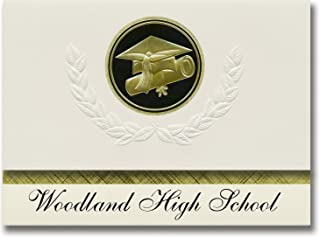 Signature Announcements Woodland High School (Cartersville, GA) Graduation Announcements, Presidential style, Elite package of 25 Cap & Diploma Seal. Black & Gold.