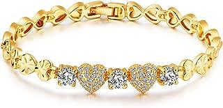 18K Gold Plated Women Jewelry Bracelet, AAA+ CZ Ladies Bracelets Rhinestone Love Heart Design