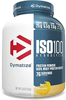 Best Dymatize ISO 100 Whey Protein Powder with 25g of Hydrolyzed 100% Whey Isolate, Gluten Free, Fast Digesting, Smooth, 5 Pound (35316) Banana 80 Ounce Review