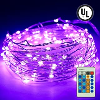 Purple Led Fairy Twinkle String Lights,Easest 100 LED 33 Feet Copper Wire Micro Mini Starry Lights with Remote for Tree Wall Bedroom Home Party Wedding Christmas Halloween Holiday Decoration