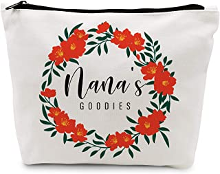 Ihopes Funny Nana Cotton Makeup Zipper Pouch Bag   Floral Nana's Goodies Cosmetic Travel Accessories Bag Make-Up Toiletry ...