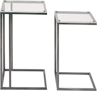 Benzara Antique Colonial Wonderful Metal Acrylic Accent Table Set of 2, 26