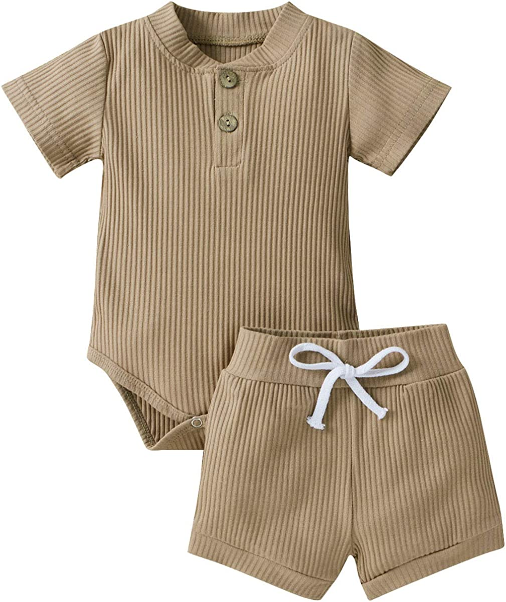 HZYKOK Unisex Baby Clothes Pajamas Toddler Pants Shorts Set Boy Girl 2Pcs Outfit Solid