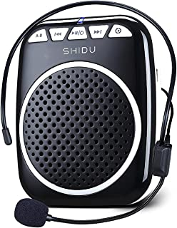 Zoweetek SHIDU Portable Rechargeable Mini Voice Amplifier With Wired Microphone Headset and Waistband for Teachers, Tour Guides, Coacher, Singing, Training and Presentation (S308-Black)