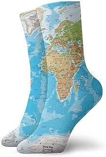 Novedad Unisex 3D Gran Mapa del Mundo Impreso Divertido Calcetines Deportivos