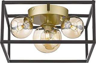 4-Light Flush Mount Lighting Fixture - HWH Metal Ceiling Light LED Bulbs Included Matte Black Frame with Gold Base for Bed...