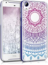 kwmobile Clear Case Compatible with HTC Desire 628 Dual SIM - TPU Smartphone Backcover - Indian Sun Blue/Dark Pink/Transpa...