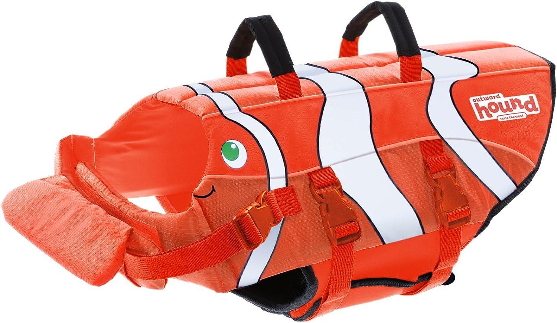 Outward Hound Kyjen 22039 Fun Fish LifeJacket Dog Life Preserver, Small, orange