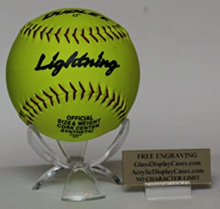 AcrylicDisplayCases.com Softball Personalized 3 Wing Display Stand for Game Ball with Custom Name Plate Holder - Free No Limit Engraving