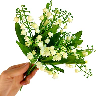 Meena Supplies Bouquet de muguet artificiel en plastique blanc