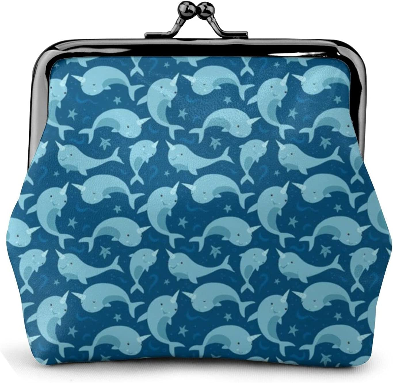 Cute Narwhals 1891 Leather Coin Purse Kiss Lock Change Pouch Vintage Clasp Closure Buckle Wallet Small Women Gift
