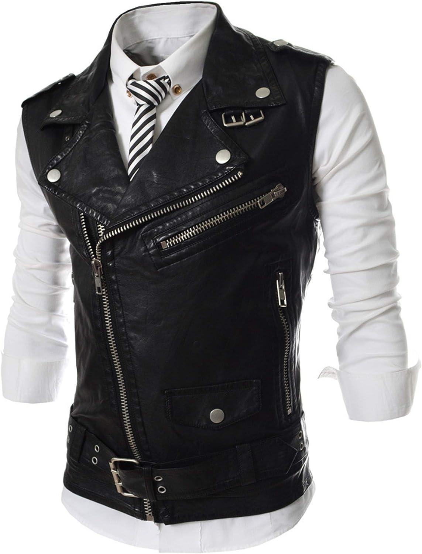 CNBPLS Men's Leather Sleeveless Vests,Solid Color Lapel Jacket with Zipper,PU Washed Leather Vest Short,Black,XXL