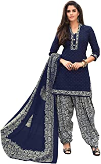 VintFlea Womens's Crepe Synthetic Unstitched Salwar Suit, Indian Punjabi Style Fashion, Patiyala or Bollywood Design Look, Salwar Kameez, Daily or Party Wear, Blue, Free Size (Free Express Shipping)