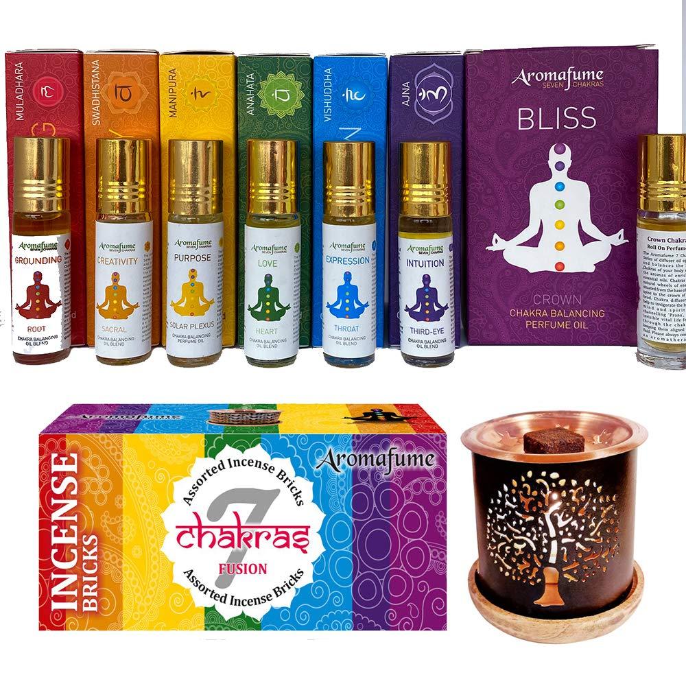 Aromafume 7 Chakra Essential Oils Blends Roll On Set and 7 Chakr