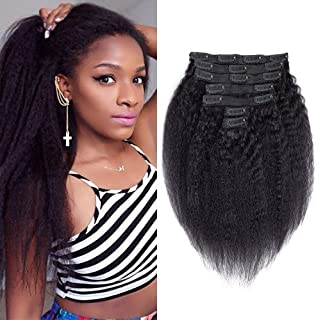Kinky Straight Clip In Hair Extensions 7Pcs/set Brazilian Natural Hair Kinky Straight Clip Ins Double Weft Coarse Yaki Straight Clip In Human Hair Extension For Black Women (16Inch-70g, Natural Black)
