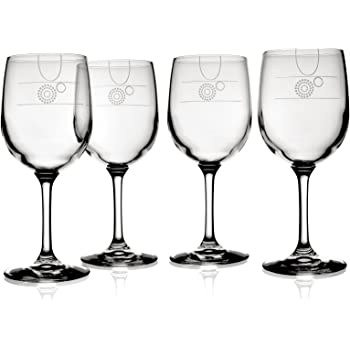 Livliga Aveq Portion Control Wine Glass with Etched Fill Lines, Set of 4