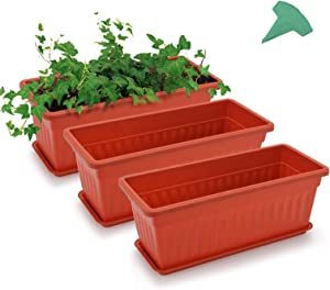 GROWNEER 3 Packs 17 x 7.2 x 6.7 Inches Terracotta Color Flower Window Boxes Plastic Vegetable Planters with 15 Pcs Plant Labels, for Windowsill, Patio, Garden, Home Décor, Porch, Yard