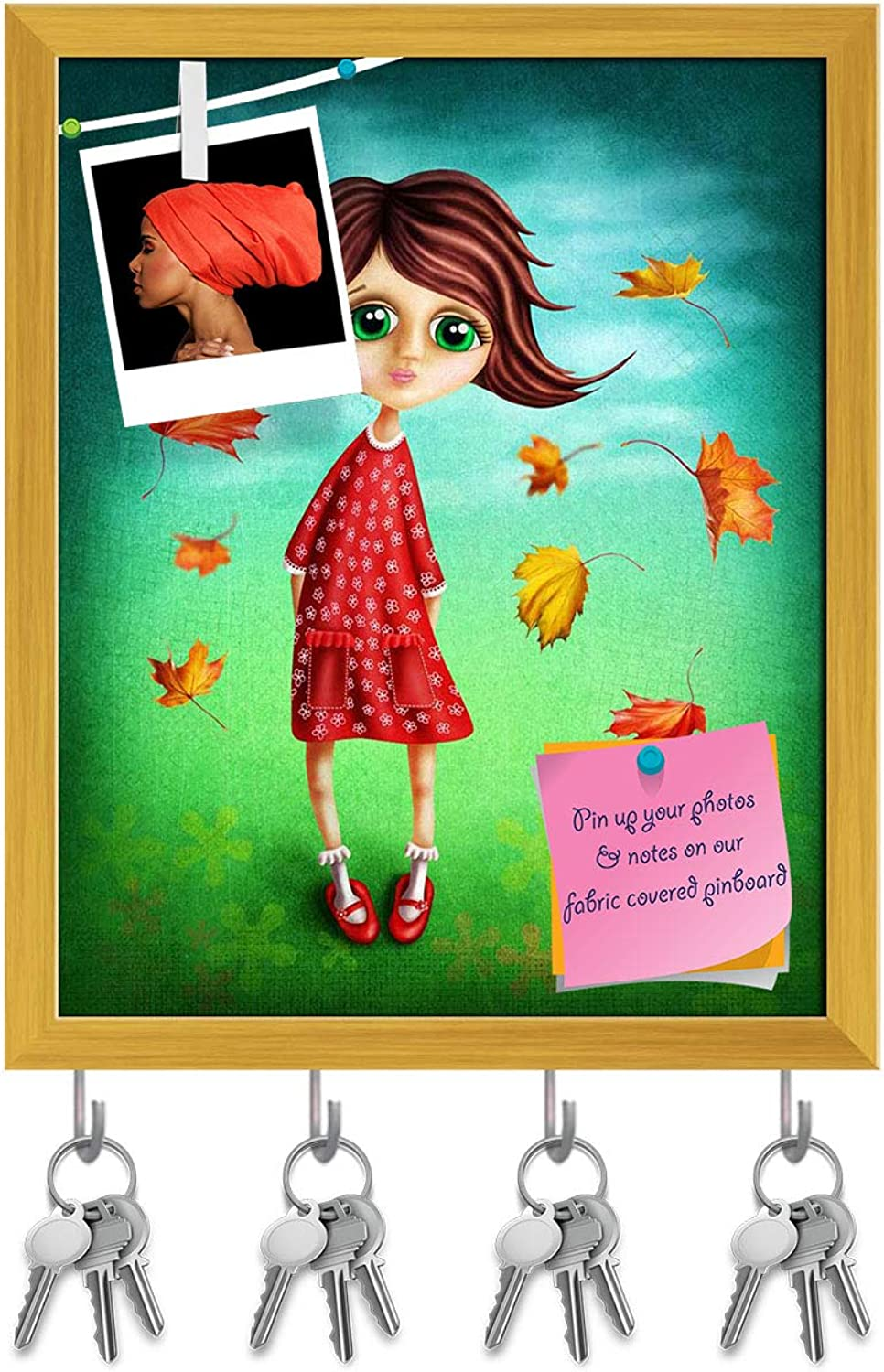 Artzfolio Little Fairy Girl in The Autumn Key Holder Hooks   Notice Pin Board   golden Frame 16 X 19.8Inch
