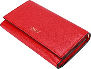 Itslife Leather RFID Wallets for Women with Card Slots,can be a Wristlet,Small Clutch Purse,Mini Crossbody Bag (red)