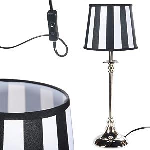 Tischlampe Schwarz-Weiß Silber Tisch Schreibtischlampe Lampe Fuß Nachttischlampe LA-001SW