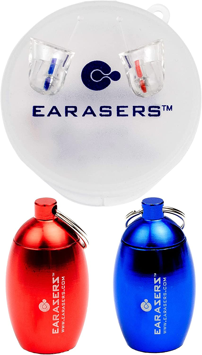 Earasers Musicians Plugs Medium with Waterproof Stash Can Case(Assorted Colors, Red or Blue)
