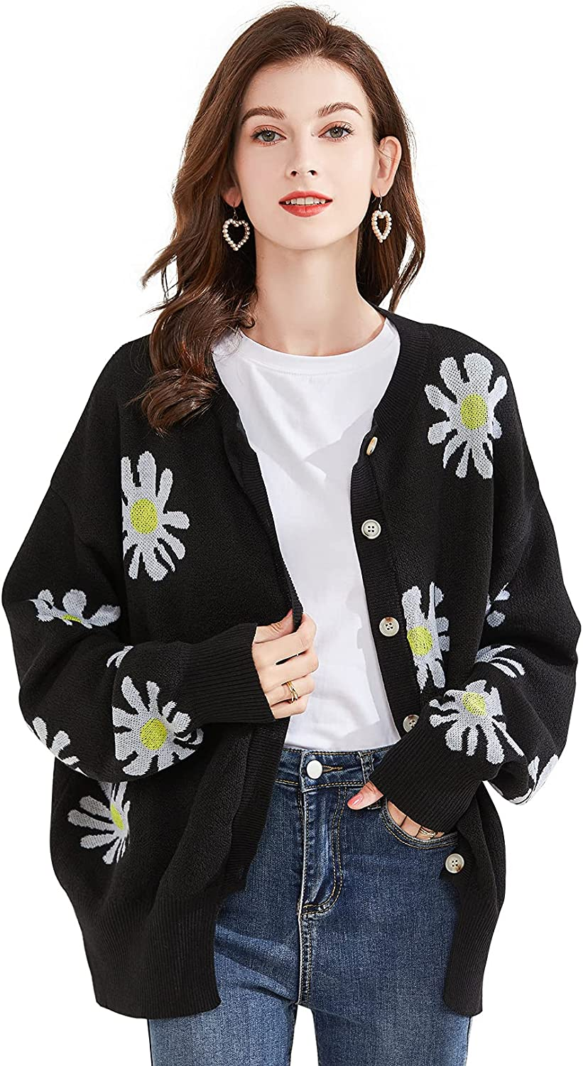TWOWYHI Cardigan Sweaters for Women Long Sleeve Button Down Crewneck Floral Print Cardigan Sweaters