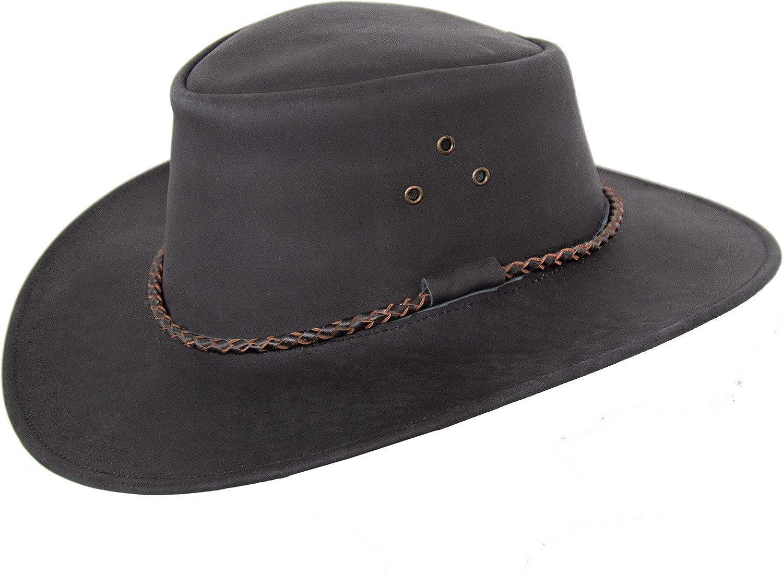 Sombrero de piel Echuca de Kakadu Traders en marrón y negro, ala curvada y cordón redondo, para hombre y mujer, talla 2 a elegir