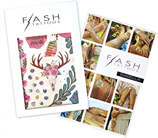 BLOOMS BUNDLE includes Flash Tattoos boho-inspired watercolor Delphine pack (2 sheets over 23 tats) and Isabella pack (4-sheets over 33 tats) bohemian, floral, flash tat, jewelry tattoo