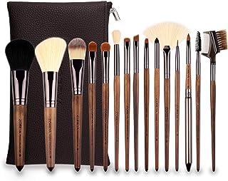 ZOREYA Makeup Brushes Set Walnut Professional Synthetic 15pcs High End Make up Brush Set For Cosmetic Make Up Contouring Powder Contour Foundation Eyebrow Eye shadow with Brush Case Holder …