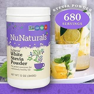 NuNaturals White Stevia Powder All Purpose Natural Sweetener, Sugar Free, 680 Servings (12 oz)