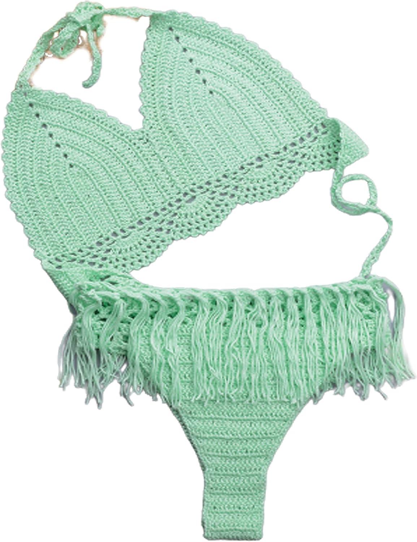 Sexy Bikini Suits Two Piece Split Bikini Fashion Solid Tassel Hollow Halter Top High Waist Thong Crochet Swimsuit Sets Women