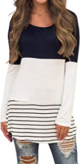 Women's Casual Color Block Lace Inset Long Sleeve T Shirt Tunic Tops