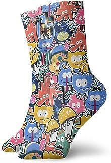 MayBlosom, Anime calcetines Dibujado a Mano Lindo Monstruos Suave de secado rápido transpirable calcetines deportivos unisex de la tripulación calcetines de 30 cm