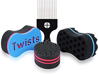 3Pcs Varied Magic Hair Twist Sponges, Sponge Brush with 1 Metal Hair Pick, 4 Different Hair Twists, Dreadlock, Afro Curls, Coils, Sponge Brush for Hair (Blend)