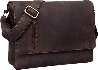 """STILORD Davis"""" Messenger Bag Leder 13 Zoll Laptop Tasche Vintage Umhängetasche Schultertasche für Uni Büro Büchertasche Messengertasche Echtleder"""