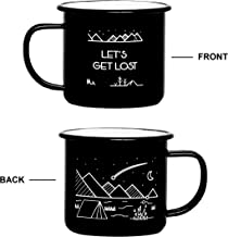Camp Vibes | Let's Get Lost | Enamel Camping Coffee Mug (450ml) | 2-Sided Unique Geometric Design | Coffee, Tea, Beer, Wine, Perfect Any Time Day