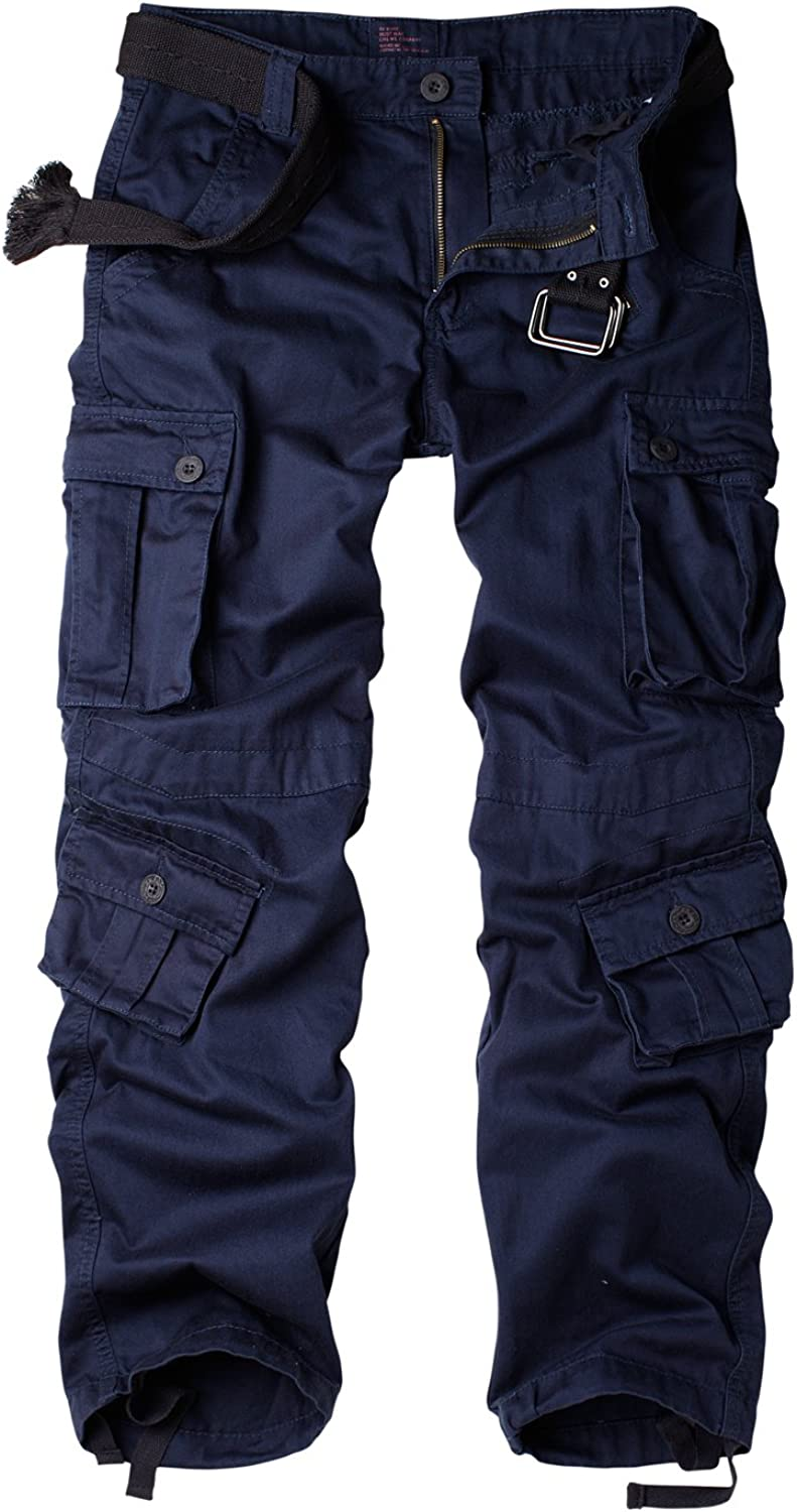 Hellmei Men's Casual Cargo Pants Relaxed Fit Cotton Pants with Multi-Pockets Tactical Outdoor Combat Pants