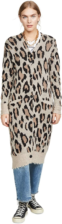R13 Women's Long Leopard Cashmere Cardigan