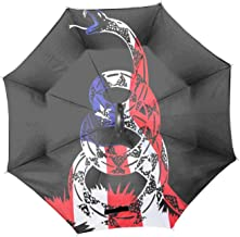 American Pride Don't Tread On Me Windproof Reverse Umbrella for Women with C-Shaped Handle