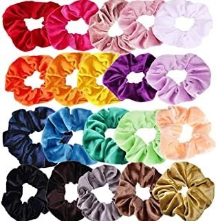 LILITRADE 20Pcs Velvet Hair Scrunchies Hair Bands Satin Elastic Hair Bands Scrunchy Assorted Hair Ties Ropes Scrunchie for Women or Girls Hair Accessories, 20 different colors