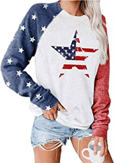 USA Flag Printed Pullover for Women Long Sleeve Casual Blouse Teen Girls Tops Shirts Tee Shirts Tee (Color : E, Size : XXX...