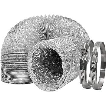 Schwarz HG Power 100mm 5m Alu-Folienschlauch Aluminiumfolien hitzebest/ändige Flexible L/üftungsschl/äuche Schallged/ämmter W/ärmeisolierung Aluflexrohr Abluft Schlauch
