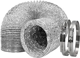 HG Power Aluminiumfolien-Rohrschlauch ø100mm Flexibles Aluminiumrohr Lüftungsschlauch Rohr Abluft Schlauch für Klimaanlagen Wäschetrockner Abzugshaube mit 2 Stück Schlauchschellen 4 Zoll10m