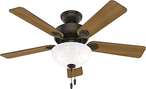 """high quality Hunter Swanson Indoor Ceiling Fan with LED online sale Lights and Pull Chain popular Control, 44"""", New Bronze outlet online sale"""