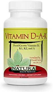 Natura Health Products - Vitamin D-A-K, Bone, Heart and Vision Supplement - with Strength Supporting Vitamins D3 5000 IU, ...