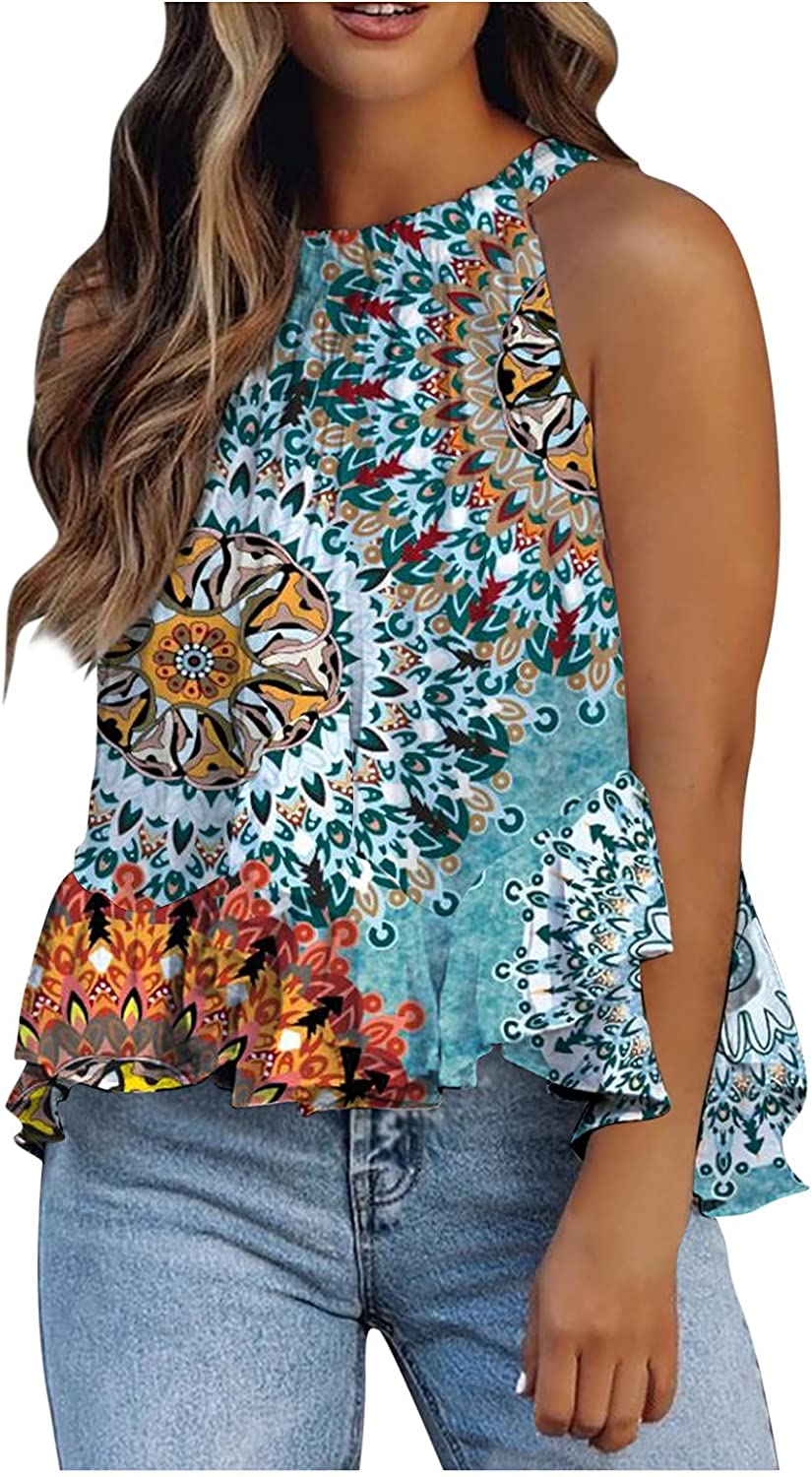 KAMEMIR Womens Tank Tops Sexy, Tops for Women Casual Round Neck Camis Graphic Cute Comfortable Blouses Racerback